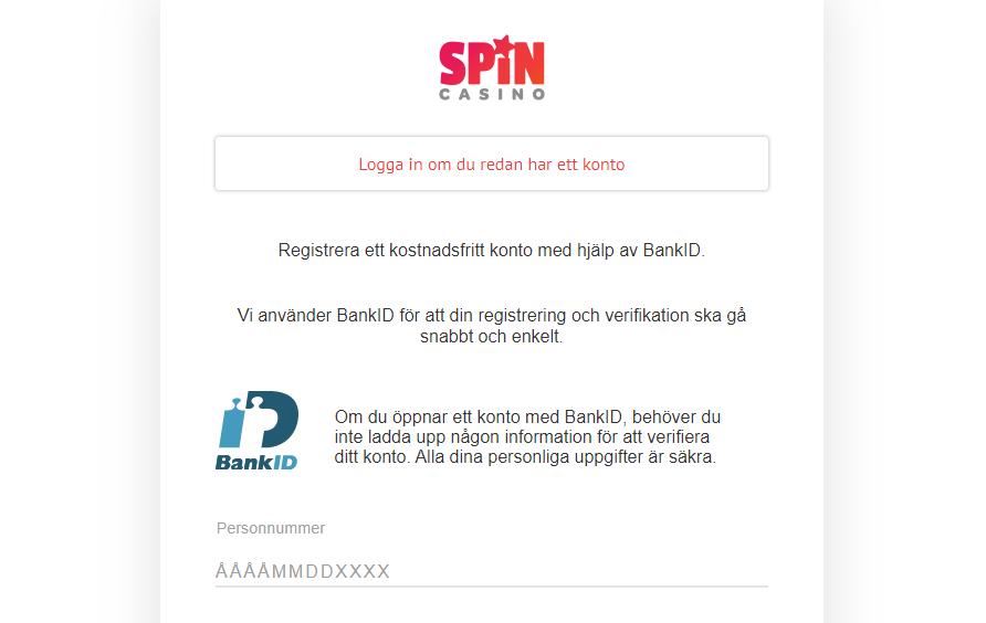 Spin casino betalsätt