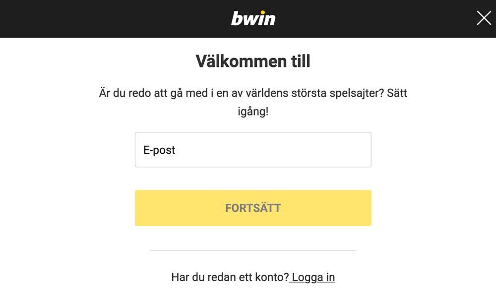 Bwin registrering