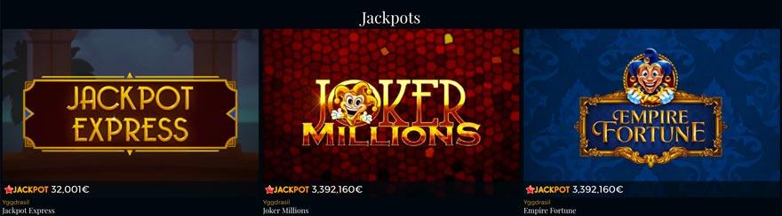 Jackpots hos Premier Live Casino